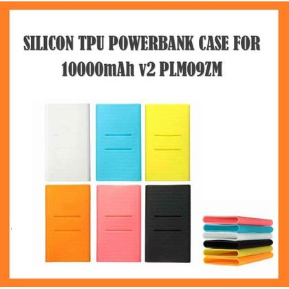 TPU Silicone Soft Case for Xiaomi Mi PowerBank 10000mah v2 Dual Port [Black, Blue, Orange, Neon Yellow, Pink, White]